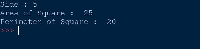 Python Program to Calculate Area and Perimeter of Square