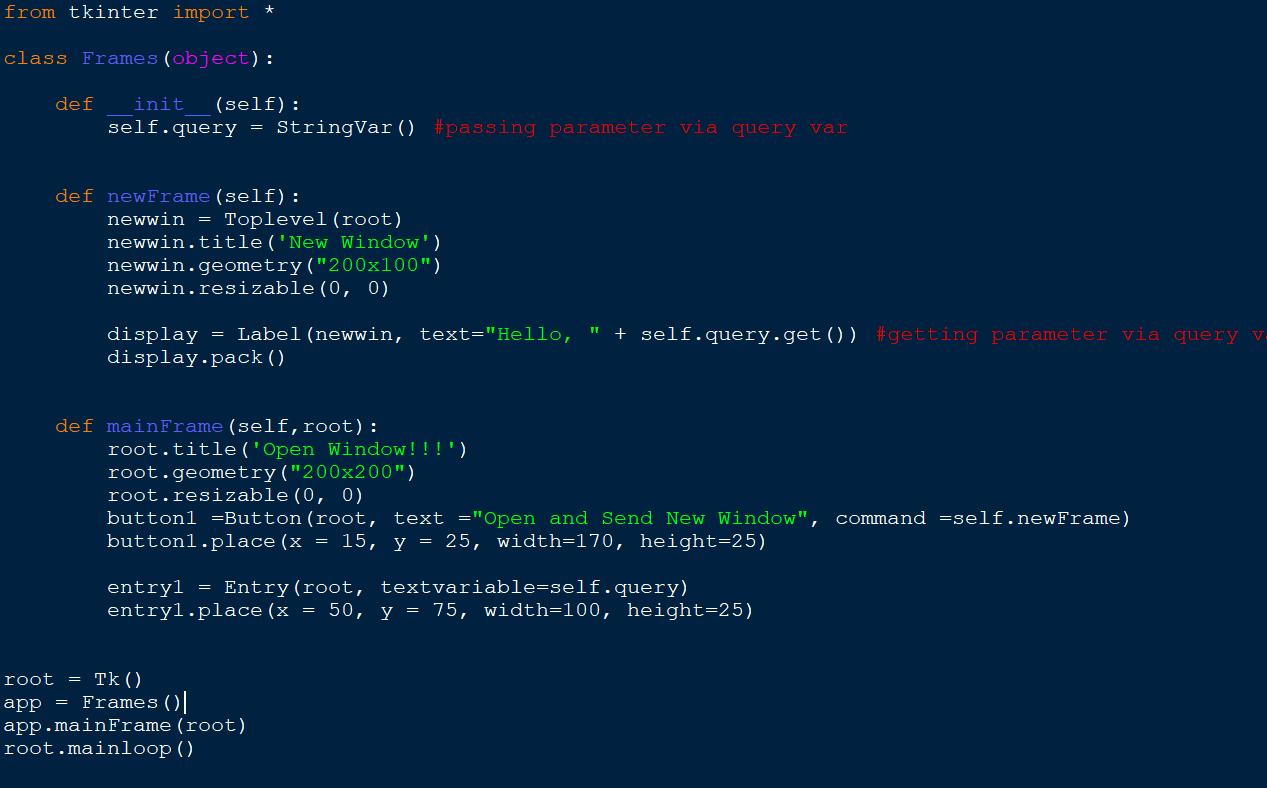 Tkinter Passing Variables Between Windows – Programming Code