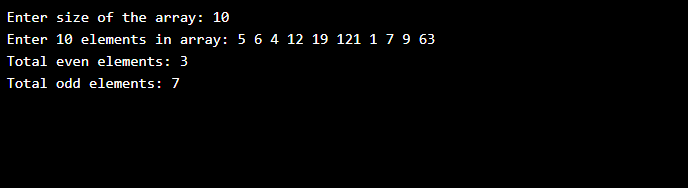 C Program to count even and odd elements in array