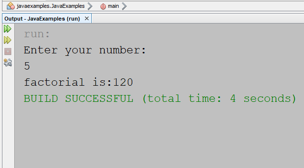 Java Calculate factorial number
