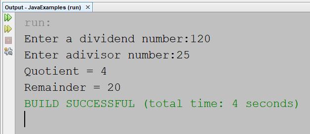 Java Program to Compute Quotient and Remainder