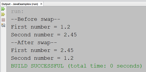 Swap two numbers using temporary variable in Java