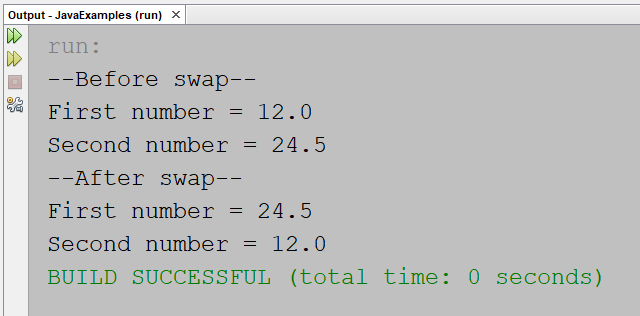 Swap two numbers without using temporary variable in Java