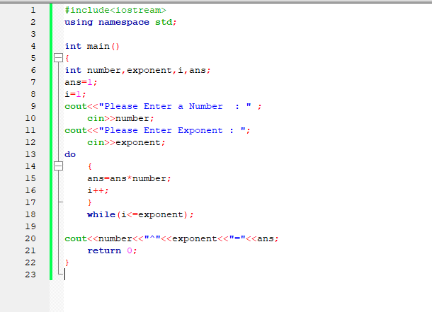 C++ Program to Calculate Power of Number