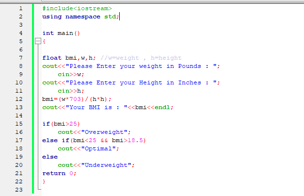 C++ Program to Calculate Your Body Mass Index (BMI)