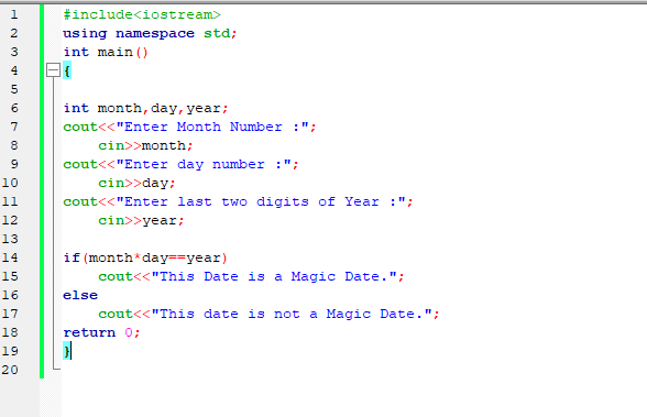 C++ Program to Check Magic Date