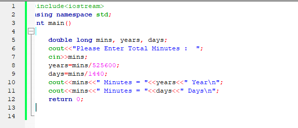 C++ Program to Convert Minutes into a number of Years and Days Code