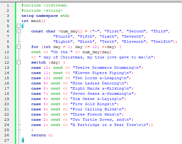 C++ Program to Display The Twelve Days of Christmas Song