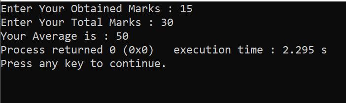 C++ Program to Find Average of Marks