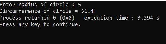 C++ Program to Find Circumference of Circle