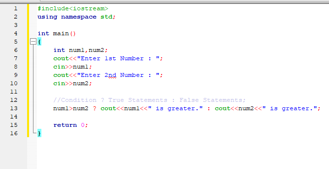 C++ Program to find Greater Number using Ternary Operator