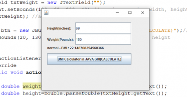 Program to Calculate Body Mass Index (BMI) in GUI Java