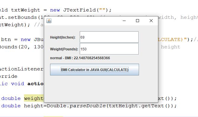 Program to Calculate Body Mass Index (BMI) in GUI Java