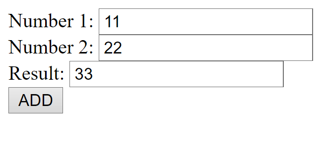 Add two input box numbers and result in the third text box on the same page using PHP