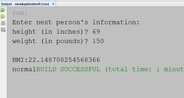 how do you calculate bmi in java