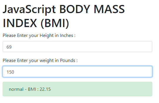 BMI calculator HTML code, Body Mass Index calculator HTML code, BMI Calculator JavaScript,