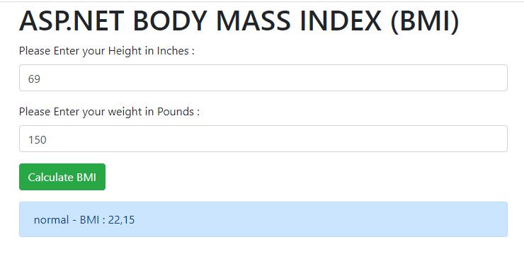 ASP.NET BODY MASS INDEX (BMI)