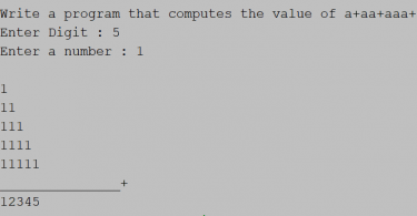 Input an integer (n) and computes the value of a+aa+aaa in java