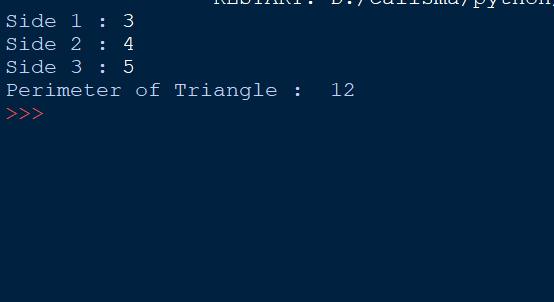 Program to Calculate Perimeter of Triangle