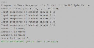 Program to Check Responses of a Student to the Multiple-Choice Exam in Java