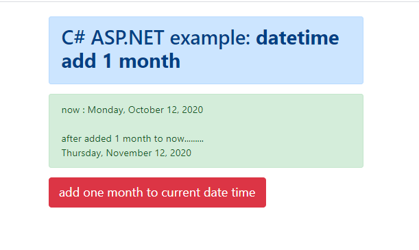 How to add 1 month to a given DateTime object in C#