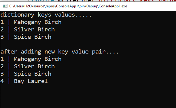 How to add a key value pair to a Dictionary in C#