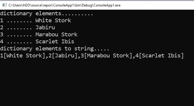 How to convert a Dictionary to a string in C#