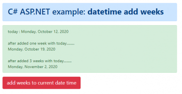 How to add weeks to a DateTime object in C#