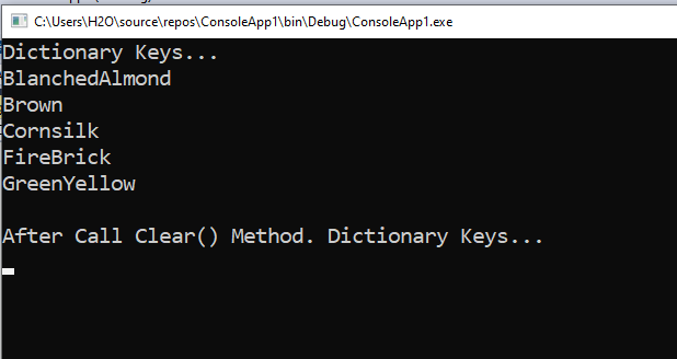 How to remove all items from a Dictionary in C#
