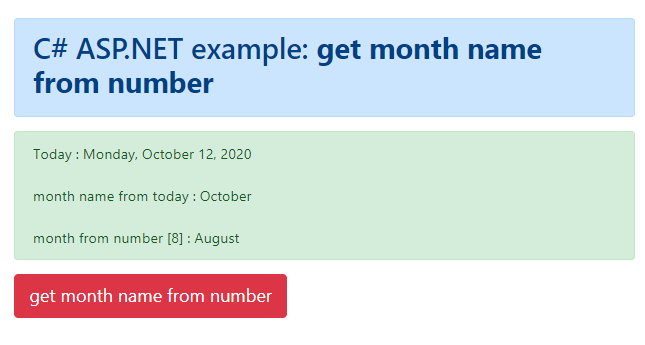 How to get the month name from month number in C#