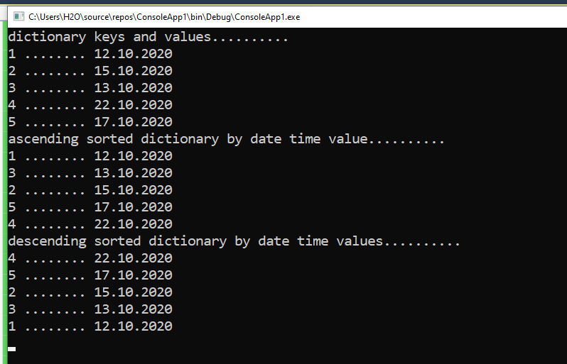 How to sort a Dictionary by DateTime value in C#