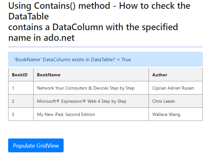 Using Contains() method - How to check the DataTable