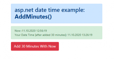 asp.net date time example: how to add minutes(DateTime.Now.AddMinutes())